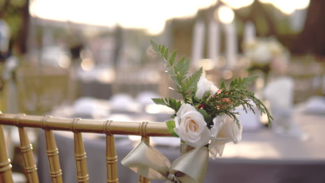 decoration chairs for wedding - bunch of flowers stock videos & royalty-free footage