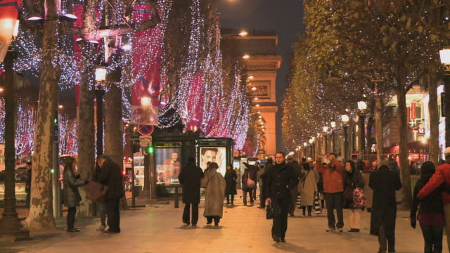 WS Decorations and people in Avenue des Champs Elysees at Christmas time / Paris, Ile de France, France