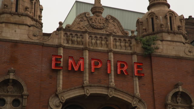 decorative facade of hackney empire - inquadratura fissa video stock e b–roll