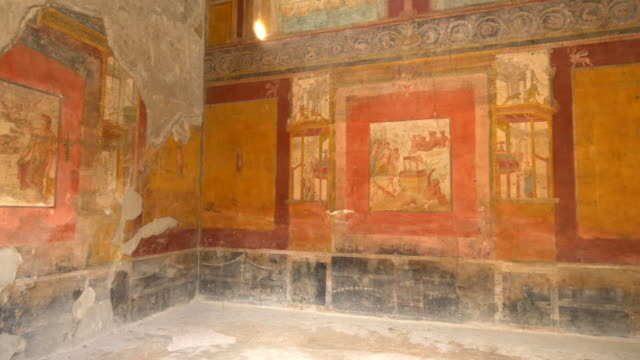 Decorative interior of ruins at the ancient city of Pompeii, Italy
