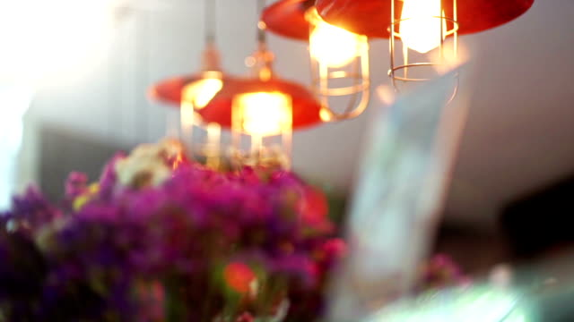 Decorative lighting café. Abstract blurred background.