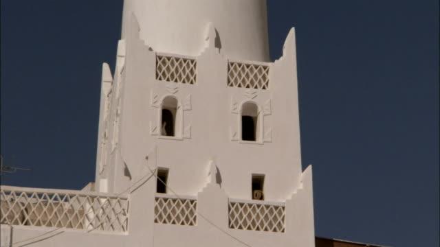 A decorative minaret in the town of Shibam.