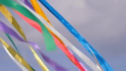 Decorative multicolor ribbons waving in the wind