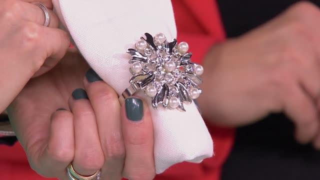 decorative napkin ring - napkin stock videos & royalty-free footage