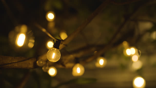 decorative string lights hanging in backyard for outdoor party - fairy lights stock videos & royalty-free footage