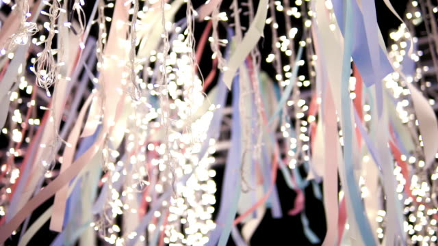 decorative string lights hanging on the wire. - ornate stock videos & royalty-free footage