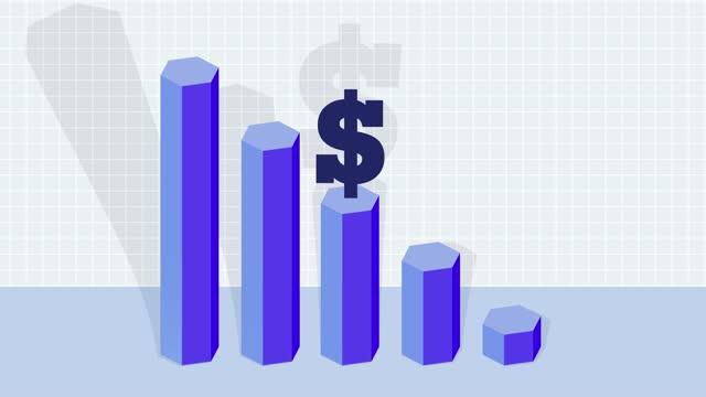 decreasing us dollar currency bar graph, loss - chart stock videos & royalty-free footage