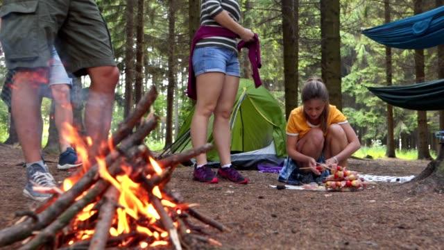 engagierte camper bereiten essen und feuer - überleben stock-videos und b-roll-filmmaterial