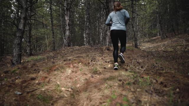 vidéos et rushes de jeune femme de remise en forme dédiée faisant du jogging tôt le matin à la forêt - joggeuse