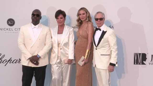 Dee Ocleppo Tommy Hilfiger Kris Jenner and Corey Gamble on the red carpet for the 2019 Cannes amfAR Gala at Hotel du Cap Eden Roc in Antibes Cannes...