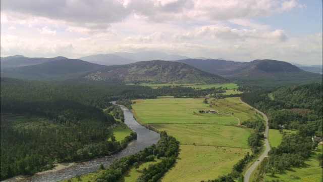 dee valley and river nr. balmoral - scotland stock videos & royalty-free footage