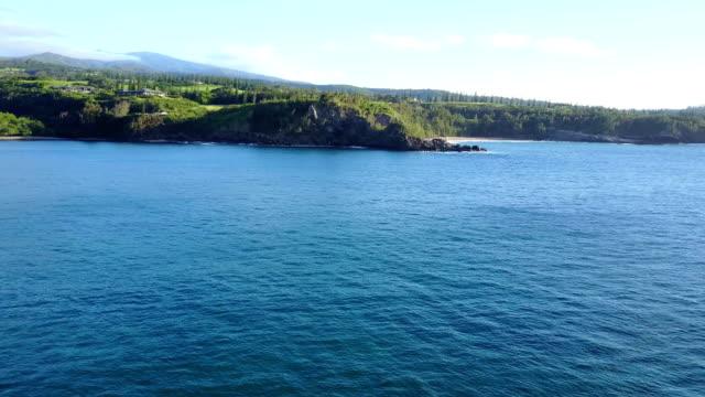 Deep Blue Waters Off Coast of Maui Island by Drone