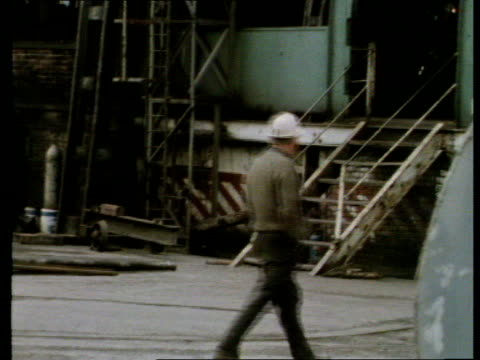 near mountain ash gv wheel pan mine area bv miner walks ms another zoom mine ms group of miners wait at pithead pull cs older miner sof i think we... - 1979 stock videos and b-roll footage