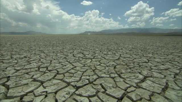 Deep mud cracks in desert floor