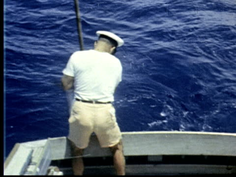 1963 MONTAGE Deep sea fishing. Man hauls sailfish with gaffing hook and brings him on boat. Old woman sitting in fishing chair points to fish / Bermuda