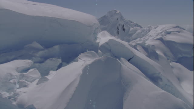 Deep snow blankets mountains in Antarctica. Available in HD