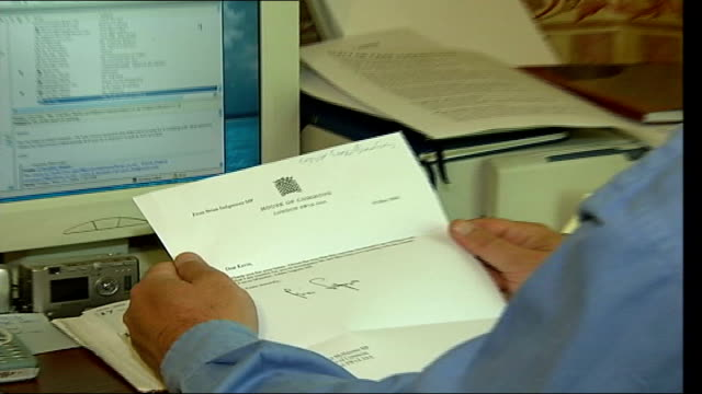 Deaths ITN Geoff Gray sitting reading letter from MP at desk ZOOM IN Photograph of Private Geoff Gray on wall Geoff Gray interviewed SOT We thought...