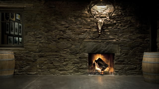ws deer antlers mounted above fireplace in hunting lodge / luggate, south island, new zealand - capanna di legno video stock e b–roll