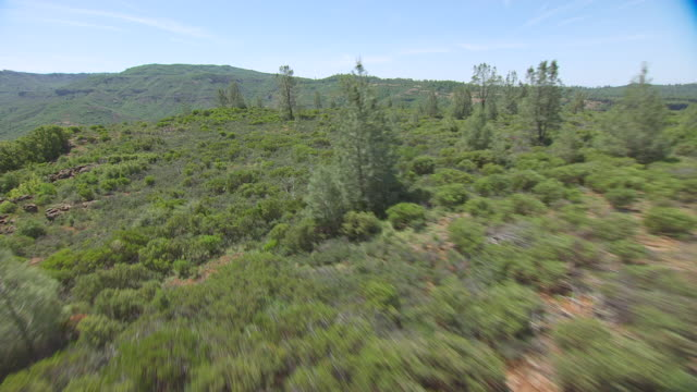WS AERIAL POV Deer Creek with Landscape at Ishi Wilderness, California