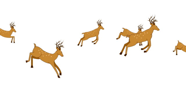 deer jumping animation loop - illustration stock videos & royalty-free footage
