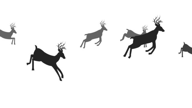 deer jumping animation loop - deer stock videos & royalty-free footage