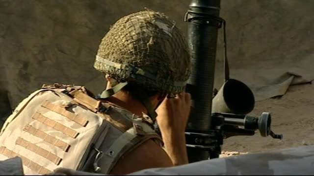 parachute regiment face losing danger payments; tx 17.9.2008 afghanistan: sangin valley: various shots british soldiers firing rocket propelled... - union army stock videos & royalty-free footage