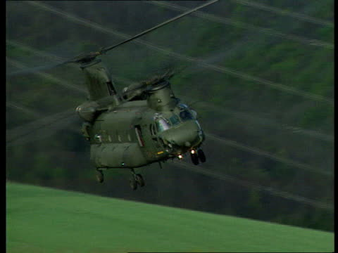 Chinook Crash Cover Up LIB Yorkshire MS Chinook in low flight towards over camera