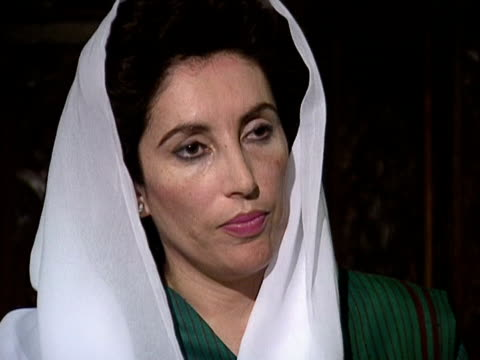 defence minister of pakistan benazir bhutto talks about india and the uprising in kashmir - rebellion stock videos & royalty-free footage