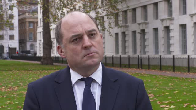 defence secretary ben wallace interview; england: london: westminster: ext various set up shots of ben wallace mp along near the ministry of defence... - ben wallace stock videos & royalty-free footage
