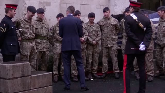 defence secretary gavin williamson meets members of the armed forces in horse guards parade london ahead of the festive period - horse guards parade stock videos and b-roll footage