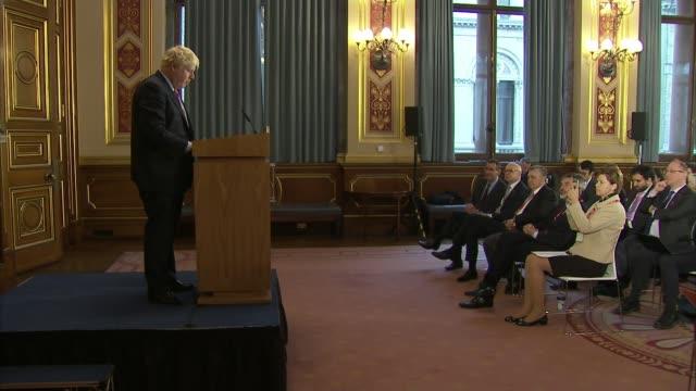 Defence Secretary Gavin Williamson says British terrorists should be 'hunted down' and killed London Westminster Boris Johnson MP along to podium...
