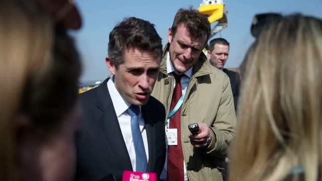 Defence Secretary Gavin Williamson speaks to journalists about the government's Brexit plans after a Royal Navy announcement in Portsmouth