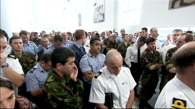 defence cuts announced london northwood air base permanent joint headquarters david cameron applauded by raf personnel as onto stage at question and... - raf stock videos and b-roll footage