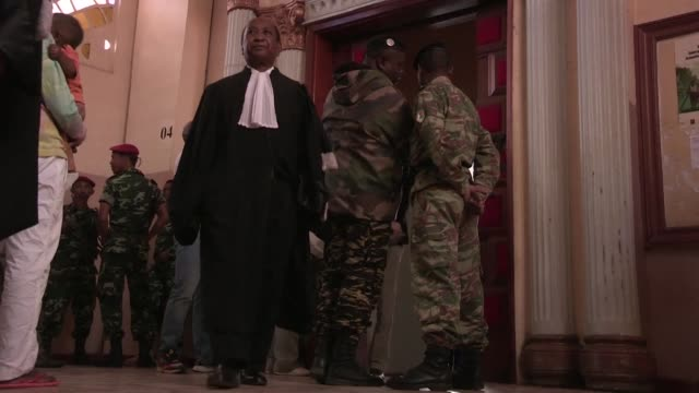 37 defendants arrive in court to face trial in madagascar for the 2013 lynching of two europeans and a local man - lynching stock videos & royalty-free footage