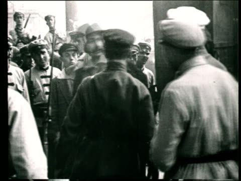 1922 MONTAGE B/W Defendants arriving at the Column Hall of the House of the Unions for political trial against the Menshevik Party/ Moscow, Russia