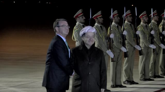 Defense Secretary Ashton Carter is being welcomed by Iraqi Kurdish Regional Government's Prime Minister Masoud Barzani at Erbil International Airport...