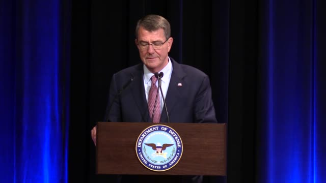 Defense Secretary Ashton Carter makes a speech during his final news briefing at the Pentagon in Washington United States on January 18 2017