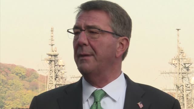 US Defense Secretary Ashton Carter visits Japanese military ship Izumo a helicopter carrier of the Japan Maritime Self Defense Force at the Yokosuka...
