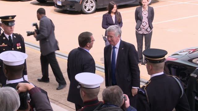 US Defense Secretary Ashton Carter welcomes UK Secretary of State for Defence Minister Michael Fallon with Carter's first honor cordon on the River...