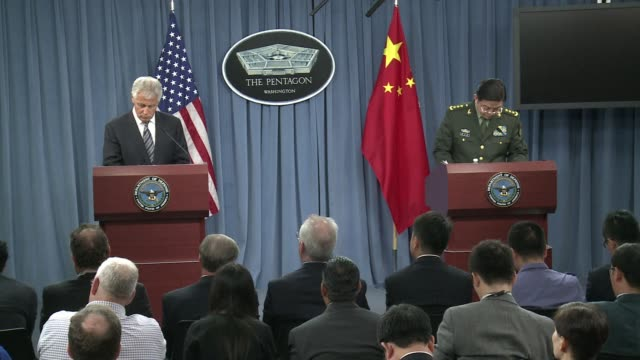 us defense secretary chuck hagel meets his chinese counterpart general chang wanquan at the pentagon to discuss rising tensions on chinas maritime... - dornig stock-videos und b-roll-filmmaterial