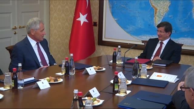 defense secretary chuck hagel visits president of turkey recep tayyip erdogan at cankaya palace prime minister of turkey ahmet davutoglu at prime... - mausoleum stock videos and b-roll footage