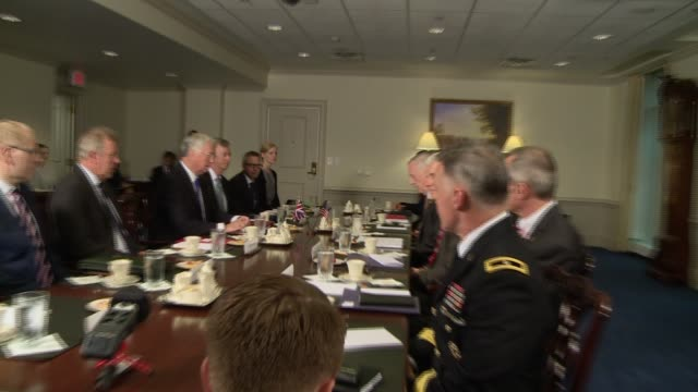 stockvideo's en b-roll-footage met us defense secretary james mattis makes a statement at the top of his meeting with british secretary of state for defence michael fallon... - hypertext transfer protocol