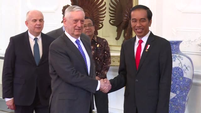 us defense secretary jim mattis meets indonesian president joko widodo and says the us wants to help indonesia maintain the maritime domain awareness... - diplomacy stock videos and b-roll footage