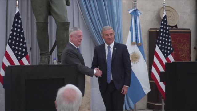 defense secretary jim mattis says the us and argentina are looking to strengthen ties on defense cooperation disaster relief operations and the non... - weapons of mass destruction stock videos & royalty-free footage
