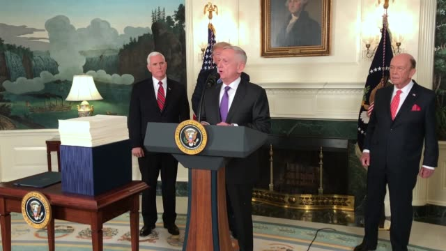 defense secretary jim mattis talks about signing the spending bill that congress passed early friday in the diplomatic room of the white house on... - 演壇点の映像素材/bロール