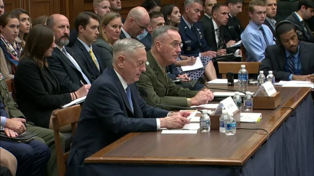 defense secretary jim mattis tells members of the house armed services committee that the defense department maintains a close link to the... - united states department of defense stock videos & royalty-free footage