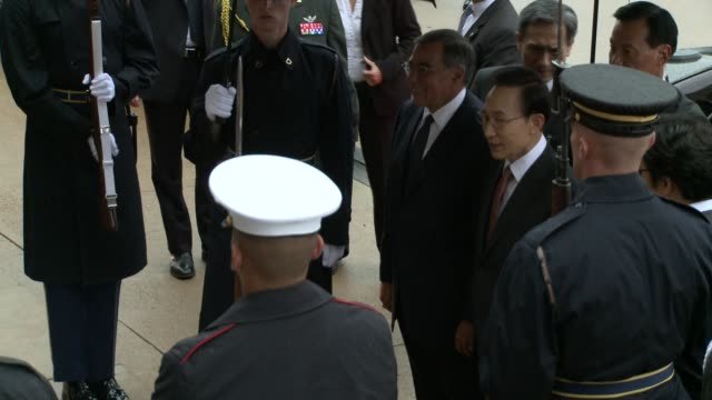 us defense secretary leon panetta welcomes south korean president lee myungbakto the pentagon with an honor cordon south korea president lee state... - virginia us state stock videos and b-roll footage