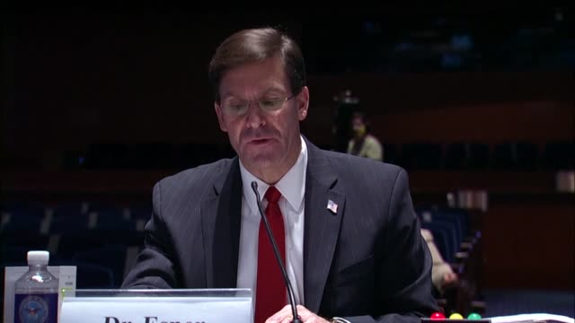 vídeos de stock e filmes b-roll de defense secretary mark esper says in a statement to the house armed services committee that thousands of military personnel remained engaged abroad... - ministério da defesa