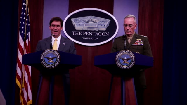 us defense secretary mark esper with chairman of the joint chiefs of staff general joseph dunford speaks during a press briefing at the pentagon in... - taliban stock videos & royalty-free footage