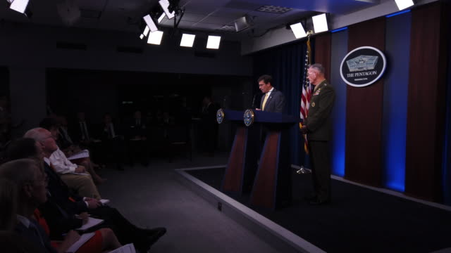 us defense secretary mark esper with chairman of the joint chiefs of staff general joseph dunford speaks during a press briefing at the pentagon in... - the pentagon stock videos & royalty-free footage